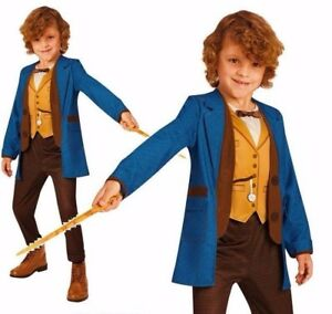 Child Official DELUXE NEWT SCAMANDER Fantastic Beasts Costume + Wand Fancy Dress