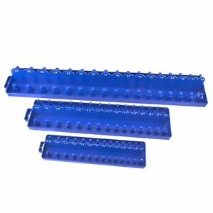 "3pc ABS Plastic Socket Holder Tray Sets Metric 1/4"" , 3/8"" , 1/2"" dr Rail TE834"