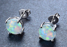 Natural Fire Opal Stud White Earrings 6mm Sterling Silver filled round Women's