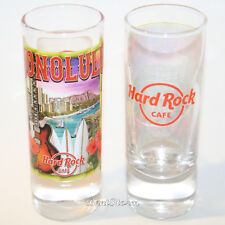 2017 Hard Rock Cafe HONOLULU Hawaii Shot Glass City Skyline Boats Diamond Head