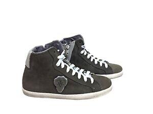 scarpe sneakers alte uomo Via Condotti grigio ghiaccio doppio scudo New Coll