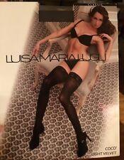 Luisa Maria Lugli Thigh high stockings Coco light velvet brown TG 4/L Marron