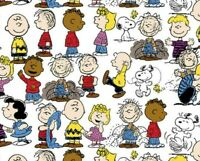 FAT QUARTER PEANUTS GANG FABRIC  SNOOPY CHARLIE BROWN WOODSTOCK LUCY LINUS   FQ