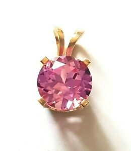 1.00ct Natural VS Pink Sapphire 14K Solid Yellow Gold Pendant Necklace Solitaire