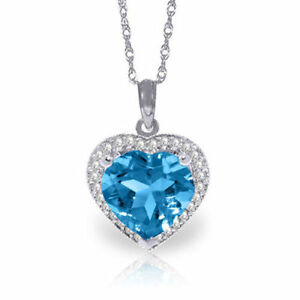 Natural Blue Topaz Heart Gemstone & Diamonds Pendant Necklace In 14K Solid Gold