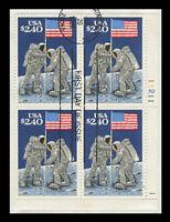 SC #2419 - $2.40 MOON LANDING - USED PLATE BLOCK OF 4
