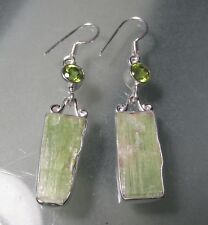 Sterling silver chunky rough green kyanite, & cut peridot earrings. Gift Bag.