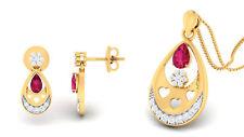 Classy 1,50 Cts Natürliche Diamanten Rubin Anhänger Ohrringe Set In 14K Gelbgold