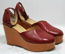 ROBERT CLERGERIE SHOES PLATFORM WEDGE ANKLE STRAP HEELS MARY JANE BRICK RED 9