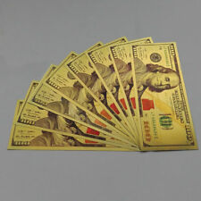 LOT OF 5 -GOLD FULL COLORIZED*100 DOLLAR-USA BILLS-EACH IN RIGID PVC BILL HOLDER