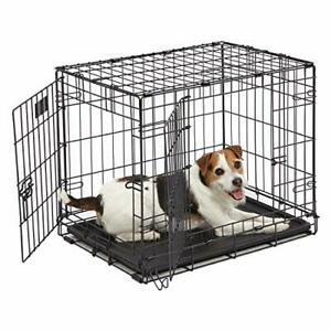 Dog Crate MidWest I Crate 24 Inch Double Door Folding Metal Dog Crate w/ Divi...