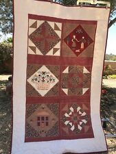 """Patch Cotton QUILT 62""""x40"""" Red Brown Tan Squares Machine Stitched Throw Amish Th"""