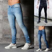 Denim Men Jeans Outfit Skinny Casual Pencil Pants Low Waist Slim Fit Trousers
