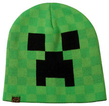 Minecraft Creeper Face Authentic Knit Beanie Green Hat Graphic Art