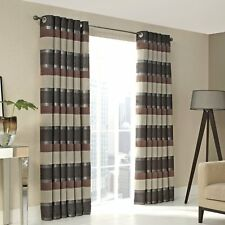 Just Contempo Chenille Stripe Eyelet Lined Curtains, Grey, 46x72 inches