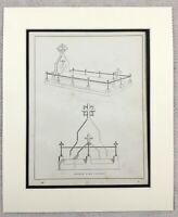 1859 Print Victorian Gravestone Grave Funeral Tomb Design Original Antique