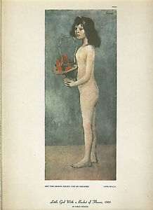 """PABLO PICASSO """"LITTLE GIRL WITH A BASKET OF FLOWERS"""" LITHOGRAPH 10 X 13 INCHES"""