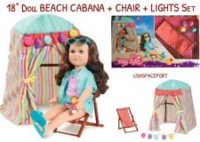 "18"" Doll BEACH CABANA Tent+Chair+Lights Set for My Life as American Girl Boy Lot"