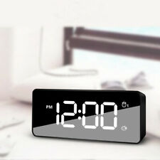 USB Digital Bedside LED Mirror Dual Alarm Snooze Alarm Clock Time Night Mode,