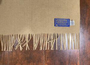 """Vintage 100% Virgin Wool Pendleton Scarf Beige Khaki Tan 50"""" x 12""""  Made in USA"""