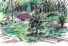 """PGH HIGHLAND PARK""by RUTH FREEMAN  INK &CRAYPAS  6 1/2"" X 9 3/4"" ORIGINAL ART"