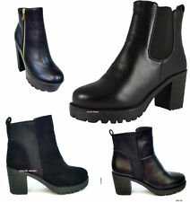 Elasticated Block Heel Synthetic Leather Boots for Women