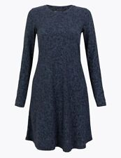 M&S Blue Floral Ribbed Swing Dress Size 10