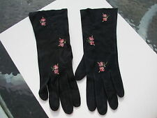 Vintage Navy Blue Kid Leather Suede Petit Point Embroidery Flowers Gloves Sz Sm