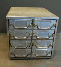 antique METAL NAVY Machinist TOOL PARTS (INDUSTRIAL) CABINET - 8 DRAWERS