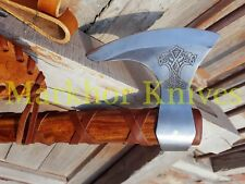 "18"" HIGH CARBON STEEL ROSE WOOD HANDLE HANDMADE BEARDED RAGNAR VIKING AXE"