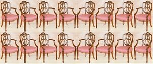 SUITE OF 16 PRINCE OF WALES FEATHERS GEORGE HEPPLEWHITE STYLE DINING CHAIRS