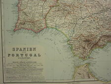 1907 DATED MAP ~ SPAIN & PORTUGAL SOUTH WEST ~ STRAIT OF GIBRALTAR ANDALUCIA