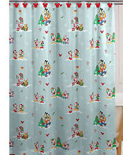 Disney Christmas Holiday Mickey & Minnie Mouse Friends Shower Curtain & 12 Hooks
