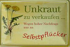 Unkraut zu verkaufen Blechschild, 30 x 20 cm, gewölbt