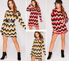 New Ladies Womens Long Sleeve Zig Zag Stripe Knitted Chevron Jumper Mini Dress