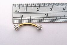 Gold Titanium Barbell Clear Crystal Balls VCH Clit Hood Ring 16 gauge 16g
