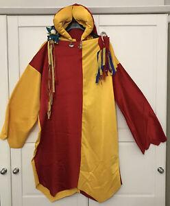 Vintage Adult Medieval Court Jester Fool Fancy Dress Costume Tunic Hat Stick
