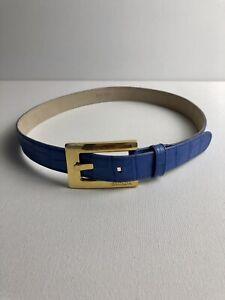 Escada Vintage Belt Blue Leather Gold Buckle Moc Croc Size 36