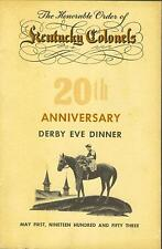 The Honorable Order of Kentucky Colonels 1953 Derby Eve Dinner program