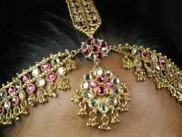 Indische Bauchtanz Stirnband Haarband Haarschmuck kopfschmuck vergoldet Fuchsia