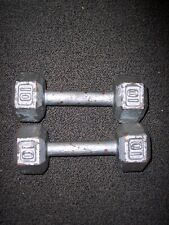 2- 10 LBS  IRON HEX Dumbbell Weight Hexagon = 20 Lbs Used.