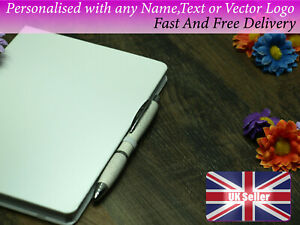 Personalised eco pen and notebook white A5 any name photo logo gift birthday sch