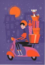 "SHAG Josh Agle ""Scooter Girl"" Christmas Card UNUSED STOCK mid century mod print"