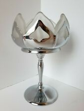 """Vintage Farber Bros. Art Deco Chrome & Frosted Glass Lotus Compote 6.5"""" Tall"""