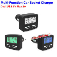 Dual Usb Port Phone Charger 3in1 Lcd Car Cigarette Lighter Thermometer Voltmeter