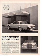 1962 MERCEDES-BENZ 220-SE COUPE  ~  ORIGINAL 4-PAGE ROAD TEST / ARTICLE / AD