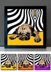 Retro Mops no.4 Pop Art Bilder Kunst Druck Poster Hundebilder 3-teilig Geschenk