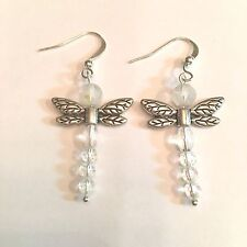 WHIMSICAL DRAGON FLY SILVER & INCANDESCENT CRYSTALS WITH SURGICAL STEEL EAR WIRE