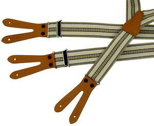 Patten-Hosenträger mit 3 Leder-Patten zum Knöpfen