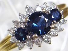 Vintage 18ct Gold 1.0 ct 3 Sapphire & .56 ct 16 Diamond Ring 1989 U.K size N 1/2